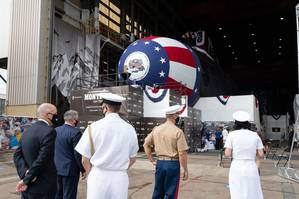 The christening ceremony of submarine Montana took place at Newport News Shipbuilding division's Modular Outfitting Facility in front of a virtual audience on Sept. 12, 2020. Photo by Ariel Florendo /HII