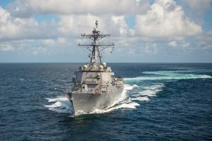 Ingalls Shipbuildings 29th Arleigh Burke (DDG 51) destroyer John Finn (DDG 113) sails the Gulf of Mexico during Alpha sea trials. (Photo: Lance Davis/HII)