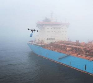 SHIP SERVICE: Maersk Tankers is testing drones for making deliveries to its vessel. (Photo: Maersk Group)