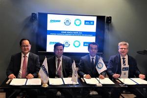 From left to right: Odin Kwon, Daewoo Shipbuilding & Marine Engineering, Deog Hee Doh, Korea Maritime and Ocean University, Naoki Mizutani, NAPA and Marko Dekena, AVL LIST signing the co-operation agreement at Nor-Shipping 2019 exhibition in Oslo.  (Photo: NAPA)