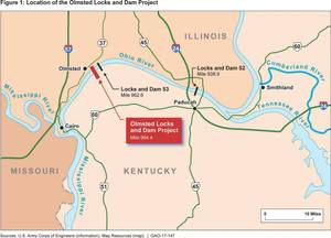 A USACE rendering of the Olmsted lock area infrastructure (Credit: US GAO)