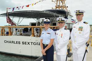 The cutter's command group, (left to right) Petty Officer 1st Class Nicole Thomas, first officer of the deck, Lt. j.g. Graham Sherman, executive officer, and Lt. Kevin Connell, commanding officer, were on hand to bring the ship to life. (U.S. Coast Guard photo by Sabrina Laberdesque)