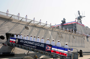 Shown is the USS CINCINNATI at its commissioning on October 5, 2019 in Gulfport,  Mississippi. U.S. Navy photo by Chief Mass Communication Specialist Rosalie Chang