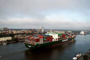The Georgia Ports Authority moved more than 3 million twenty-foot equivalent container units (TEUs) in fiscal year 2014. Exports accounted for just over half of containerized tonnage.