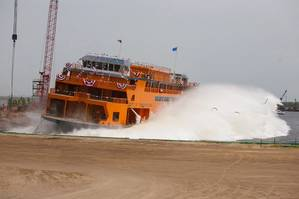 New ferry Sandy Ground launched at Eastern's shipyard in Panama City, Fla. (Photo: Eastern Shipbuilding Group)