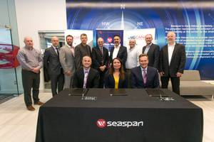 Front row L to R: Bart Reynolds, President Seaspan Marine, Crystal Smith, Chief Councillor Haisla Nation, Frank Butzelaar, CEO Seaspan Marine Transportation – Back row: Representatives from Seaspan, the Haisla Nation and union leadership witnessed the signing of the agreement.