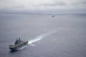 U.S. Navy amphibious assault ship USS Peleliu during an exercise in the Pacific Ocean, June 23, 2014. Peleliu will participate in Rim of the Pacific (RIMPAC) 2014. (U.S. Navy photo by Daniel Viramontes)
