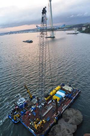 The spreader beam lifting rig was used below the hook of a crane barge on the Firth of Forth.