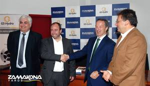 Pictured from left to right: Borja Garaygordóbil, General Director of Zamakona Yards Canarias; Pablo Moya, Managing Director of GS-Hydro Spain, Portugal and France; Álvaro Garaygordóbil, CEO Zamakona Yards Canarias and Luis Ibarra, President of the Port Authority of Las Palmas (Photo courtesy of Zamakona Yards)
