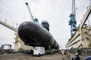The Virginia-class submarine Indiana (SSN 789) has been launched into the James River and moved to Newport News Shipbuilding's submarine pier for final outfitting, testing and crew certification. (Photo: Ashley Major/HII)