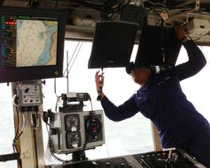 Installing survey monitors cutter Spar: Photo courtesy of NOAA