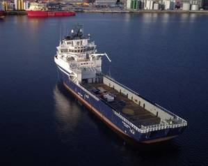 """BEFORE: Island Clipper: Island Offshore of Ulsteinvik, Norway, has had success with conversions.  """"before"""" and """"after"""".  Photos: Island Offshore"""