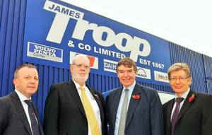 Left to right: Robert Pollock, Bob Troop, Defence Minister Philip Dunne, Derek Bate (Photo: James Troop)