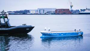 The ODIN USV and a working scale model of the YARA Birkeland all-electric, autonomous container vessel were on the water for yesterday's opening event (Photo: Kongsberg)