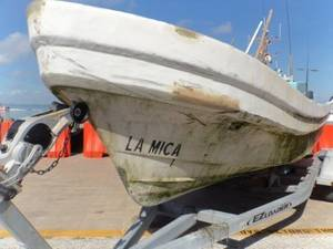 A Mexican lancha sits trailered at Coast Guard Station South Padre Island, Monday, after South Texas Coast Guard crew interdicted the lancha, 30 miles offshore. U.S. Coast Guard photo.