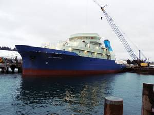 The ship as it was moved into the water at Dakota Creek Industries shipyard in Anacortes, Washington. (Photo courtesy of Gary McGrath, WHOI)