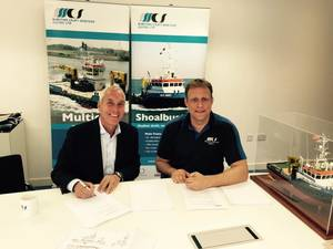 left to right Mr. Jos van Woerkum (Managing Director Damen Shipyards Hardinxveld), Mr. Menno Kuijt (Managing Director of Maritime Craft Services).