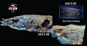 4D Modeling of USS S-28 and insert of S-35 showing differences in bow plane cowlings (Credit: Lost 52 Project)