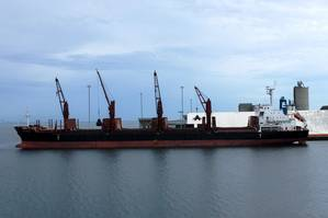 At Port Manatee, the bulk carrier Sen Treasure is loaded with more than 13,325 metric tons of scrap metal bound for Mexico.