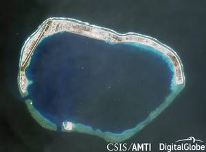 Mischief Reef has been occupied and controlled by China since 1995, and is also claimed by Taiwan, the Philippines and Vietnam. (Credit: CSIS/AMTI, DigitalGlobe)