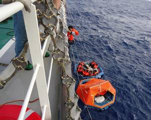 A scene of rescuing crew members