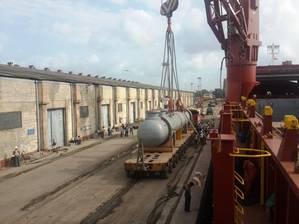 mv Aquila J loading Godrej reactor of 181 ts from Mumabi to Houston