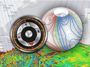 The WMM is a large-scale representation of Earth's magnetic field. The blue and red lines indicate the positive and negative difference between where a compass points the compass direction and geographic North. Green lines indicate zero degrees of declination. (Credit: NOAA)