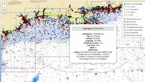 Coast Survey's wrecks and obstructions database provides info on thousands of wrecks.