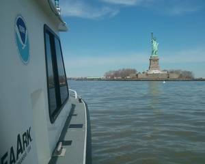 A NOAA Coast Survey team collected post-Sandy depth measurements in New York Harbor last spring