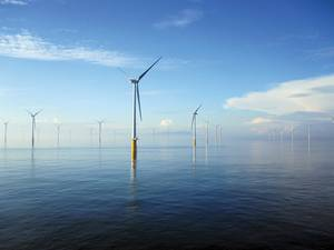 The London Array off the coast of Kent is the largest offshore wind farm in the world. Credit: London Array Limited