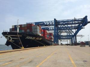 Hanjin Milano made its maiden call at Conley Terminal Friday (Photo: Massport)