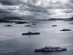 PQ-17 Arctic Convoy, June-July 1942. The covering forces of the PQ-17 Convoy (British and American ships) at anchor in the harbor at Hvalfjord, Iceland, May 1942 (Photo: BOAM)