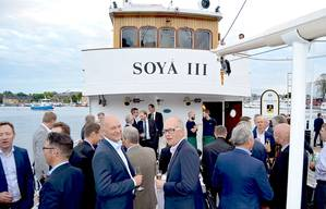 Mingling onboard M/S Soya III during PureBallast ballast water treatment system 10-year anniversary (Photo: Alfa Laval)