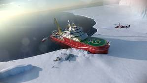 Artists impression of the RRS Sir David Attenborough unloading supplies in Antarctica. Copyright Rolls Royce.