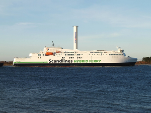 An illustration of M/V Copenhagen with a Norsepower Rotor Sail. (Photo: Scandlines)