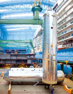 Scrubbers ready for installation onboard Norwegian Escape at Meyer Werft. Photo courtesy of Yara Marine Technologies AS / ©Meyer Werft
