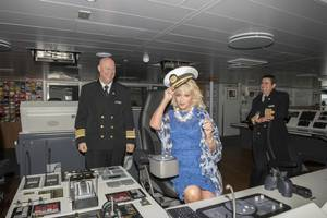 Seabourn Ovation godmother Elaine Paige gets a special bridge tour from the ship's Captain, Stig Betten (left), and Staff Captain, Stefan Tsvetkov. Ovation was christened in front of Seabourn guests in Valletta, Malta. Photo by the company.