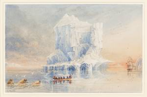 1836 watercolor painting by Admiral Sir George Back, then in command of the HMS Terror on a voyage to Hudson's Bay, shows the ship and one of her boats beside an iceberg. (Courtesy: Canadian Museum of Civilization / Parks Canada)