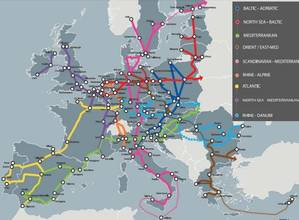 Map depicting the TEN-T Core Network Corridor. The Scandinavian-Mediterranean Corridor is in pink. (Image: European Commission)