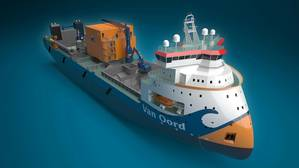 Van Oord's new subsea rock installation vessel, 'Bravenes'. The ship is able to operate in depths of 600 metres and more.  (CR: ULSTEIN/Morild Interaktiv)