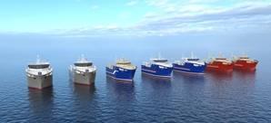 The seven ordered VARD 8 08 vessels, designed by Vard Design in Norway (Image: Vard)