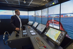 The Wärtsilä navigation simulator is an essential enabler in the ISTLAB project aimed at creating a testing environment for smart autonomous vessels. Photo: SAMK / Pekka Lehmuskallio