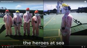 """Weathering the Storm"" salutes heroes of the sea in turbulent times. Image: Clip from Weathering the Storm video."