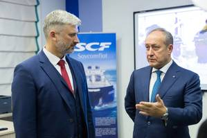 Left to right: Russian Minister of Transport Evgeny Ditrich and Sergey Frank CEO Sovcomflot (Photo: SCF Group)