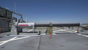 One of the two electromagnetic railgun prototypes on display aboard the joint high speed vessel USS Millinocket (JHSV 3) in port at Naval Base San Diego. (U.S. Navy photo by Kristopher Kirsop)