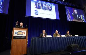 Chief of Naval Research Rear Adm. Mat Winter, moderates a research, development, test and evaluation corporate board panel session during the Naval Future Force Science and Technology Expo. (U.S. Navy photo by John F. Williams)