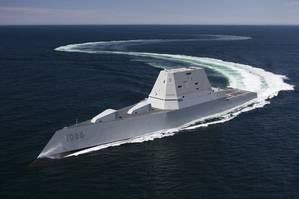 The future guided-missile destroyer USS Zumwalt (DDG 1000) transits the Atlantic Ocean during acceptance trials April 21, 2016 with the Navys Board of Inspection and Survey (INSURV). (Photo: U.S. Navy)