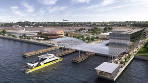 Rendering shows plans for LaGuardias new Marine Air Terminal site (Image: Governor Cuomo's office)
