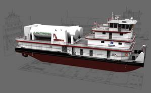 Concept art for the Shearer Group and Conrad Shipyards LNG powered towboat