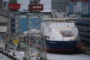 A Russian icebreaker currently under construction at Arctech Helsink Shipyard (Photo: Eric Haun)
